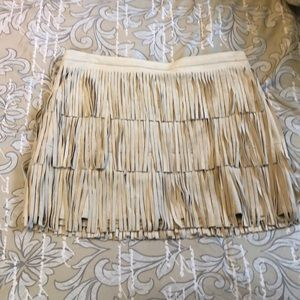 Fall suede fringe skirt